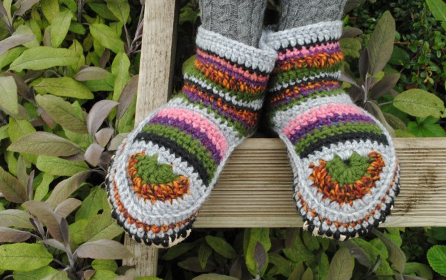 hand made wool crochet slipper boots