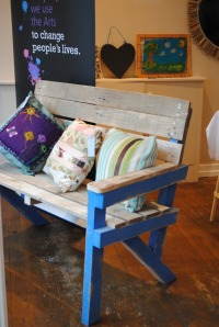 upcycled painted garden bench made from old pallets