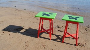 minecraft tables - custom upcycled painted furniture