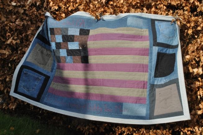 upcycled denim stars and stripes US flag quilt